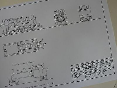 FESTINIOG RAILWAY DRAWING, LOCOMOTIVE, 2-6-2T 'MOUNTAINEER' - 4mm to 1FT SCALE