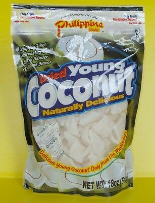 Dried Young COCONUT 18 oz Philippines Cebu High in Fiber Chunk Chips Philippine