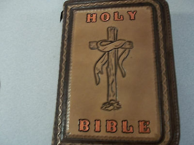 #201 Golden Bronze Bible Cover With Rough Hewn Cross  By Bluehorn Custom Leather
