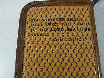 Auburn Russet Bible Cover With Rough Hewn Cross  Made By Bluehorn Custom Leather