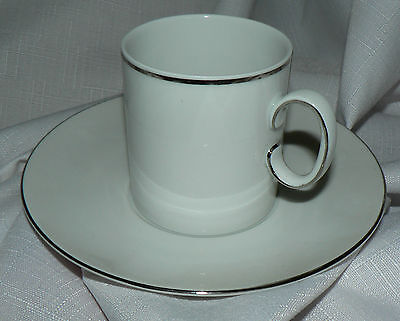 THOMAS Rosenthal MEDALLION Narrow Band PLATINUM Coffee Can CUP & SAUCER Germany