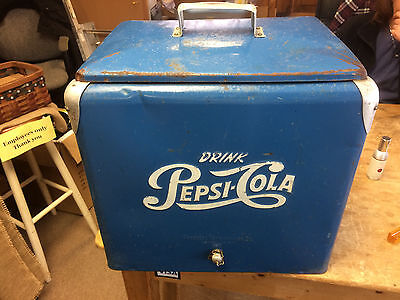 VINTAGE 1950's Original Pepsi Galvanized Steel Cooler with tray