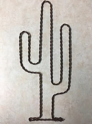 Twisted Rusty Wire Art Handmade Cactus Rustic Western Ranch Wall Decor 11 Inch