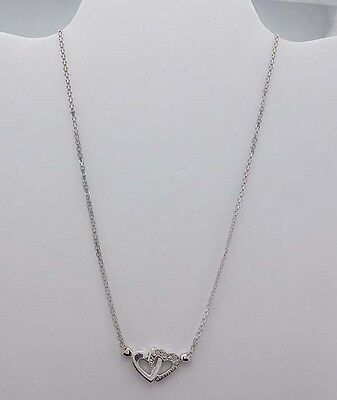 GENUINE 0.17 Cts DIAMONDS 10k White Gold DOUBLE HEART NECKLACE  *FREE SHIPPING *