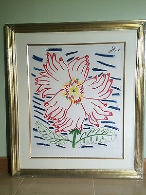 "pablo picasso flower of hands 34""x30"" 1 of only 50 worldwide"