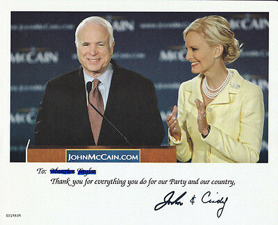 2008 JOHN MCCAIN and CINDY Presidential Campaign 8X10 Signed Color Photo