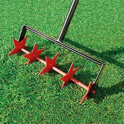 Garden Lawn Aerator Yard Grass Spikes Rolling Grass Moss Heavy Duty Steel Red