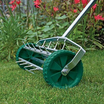 Lawn Aerator Rolling Spiked Drum Hand Pushed Galvanised Steel Grass Soil