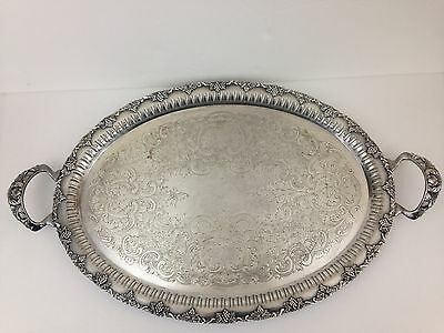 VintageOld English Reproduction Silver Plated Tray E.P. Copper B.M. Mount