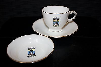 Vintage H M Sutherland crested china 'Forward' 'Dunoon' cup, saucer & small dish
