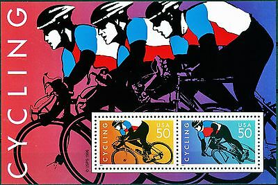 CYCLING Souvenir Sheet Includes 2 50 Cent MNH Stamps Scott # 3119 or 3119a