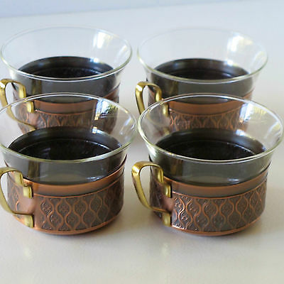 Set of 4 Schott Tisane Cups in Tempered Glass &  Copper Holders, Germany c.1960s