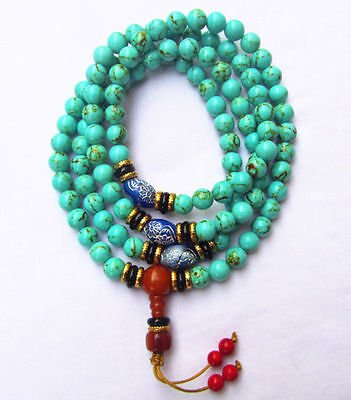 China tibet Turquoise 108 8MM Buddhist Prayer Bead Mala Necklace Bracelet Beads