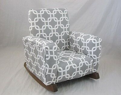 New Childrens Upholstered Rocking Chair Gotcha Gray Toddle Rock For Kids