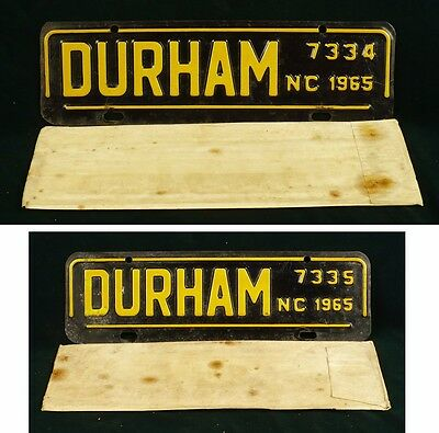Consecutive 1965 Durham North Carolina License Plate toppers/envelopes 7334+7335
