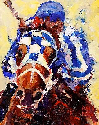 Secretariat Art Print Signed by Artist Ron Krajewski Painting 8x10