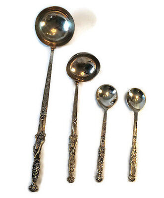 Silver Antique Asian Dragon Chasing Flaming Pearl Ladles & Spoons Lot of 4