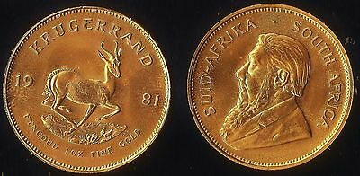 Full Genuine 1oz. Krugerrand. 1oz. Fine 24kt Gold....the Real Thing, not plated.