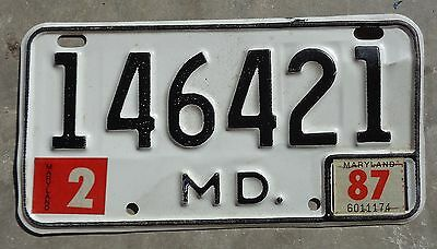 Maryland 1987 motorcycle license plate #  146421