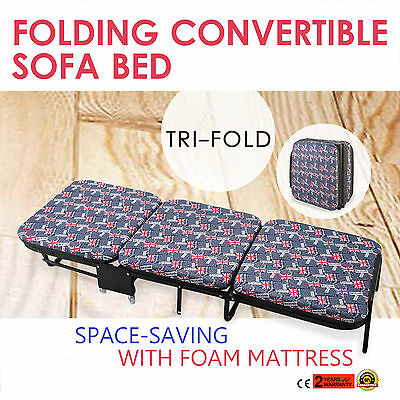 Foldable Folding Bed With Mattress Tri-Fold Convertible Sofa Bed Adjustable