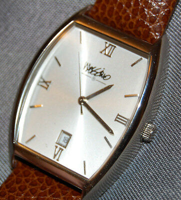 Massimo Men's Watch w/ Date Brown Leather Band White Dial NEW BATTERY!