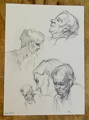 Small Original Realism Portraits Figures Sketches Life Drawing by Miriam Slater
