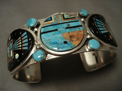 """Intense Inlay Zuni Turquoise """"""""outer Space Inlay"""""""" Sterling Silver Bracelet"""