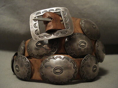 One Of The Finest Vintage Navajo 1900's Hand Tooled Silver Hat Concho Belt