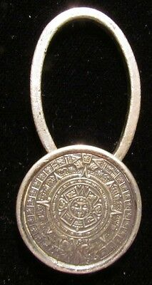 Vtg Sterling Silver Aztec Sun Calendar KEY RING Mexico Mexican REAL NICE