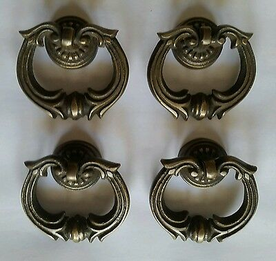 "4 Ornate Handles Pulls w Detailed Drop Ring 1 3/4"" #H10"