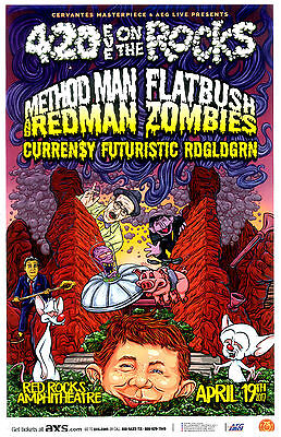 4:20 On The Rocks w/ Method Man Redman Flatbush Zombies Red Rocks Concert Poster