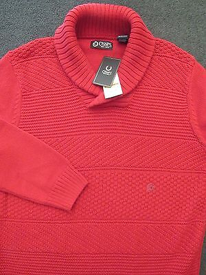 NWT ~ Men's Red CHAPS Cotton Shawl Collar Sweater ~ Small ~ MSRP: $80.oo