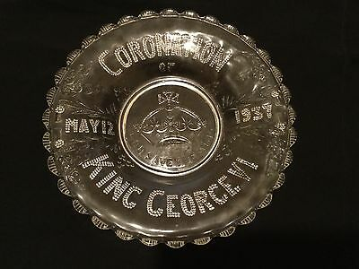 Antique Vintage King George Vi Royal Coronation Glass Plate 1937