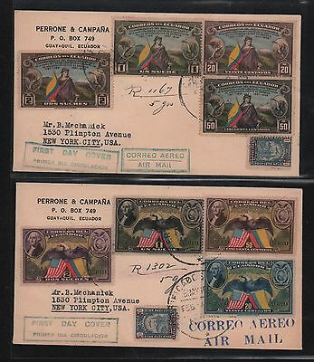 Ecuador 1938 Fdc Usa 150 Years Constitution Registered Cover New York S# 366-372