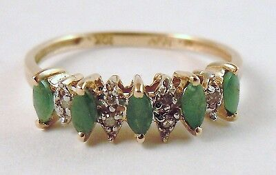 100% Genuine Vintage 10k Solid Yellow Gold Emerald & Diamonds Ring Sz 7
