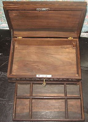 Vintage Hand Carved Wooden Ornate Jewelry Box With Lock And Brass Key