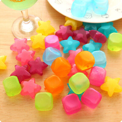 6Pcs Colorful Plastic Reusable Fruit Ice Cubes Cool Cold Drink Party Bar BBQ New
