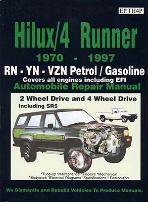 TOYOTA Hilux/4 Runner 1970 to 1990 book paper Car