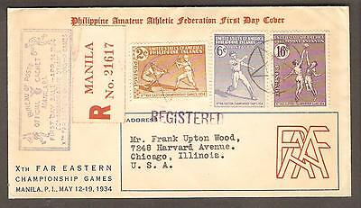 Philippines 14th April 1934 Registered FDC Cachet Cover, Manila to Chicago, USA