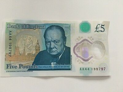 AA Bank of England Polymer £5 note - Rare Serial Number!