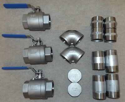 "2"" Stainless Steel Pipe Fittings - Various - Job Lot"