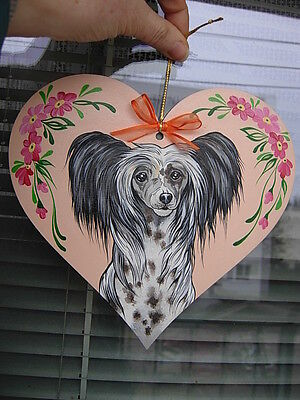 CHINESE CRESTED   HANDPAINTED wooden  Heart