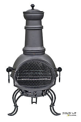 La Hacienda Black Steel 89Cm Chiminea Chimenea Patio Heater And Bbq Grill