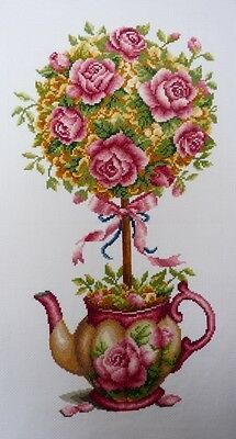 New, 100% hand made, completed cross stitch-Roses & Pot