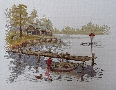 New, 100% hand made, completed cross stitch- Lake view