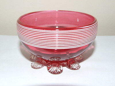 Victorian Cranberry glass White Threaded Footed Open Salt