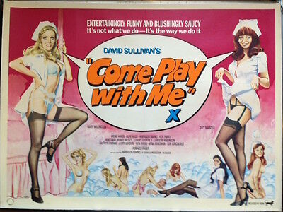 COME PLAY WITH ME Original UK Quad Movie Poster Sexploitation Film Tom Chantrell