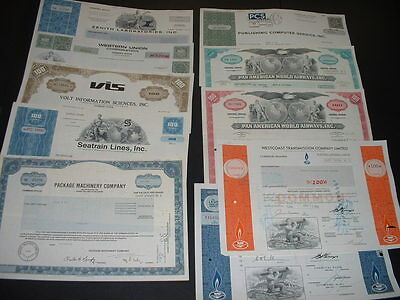 SCRIPOPHILY(ab) VINTAGE CERTIFICATES LOT 50 DIFFERENT  AS SEEN IN PICTURES