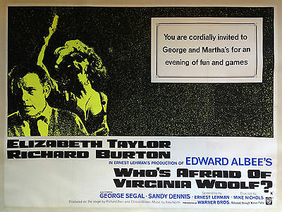 WHO'S AFRAID OF VIRGINIA WOOLF? Original Quad Movie Poster Elizabeth Taylor Film
