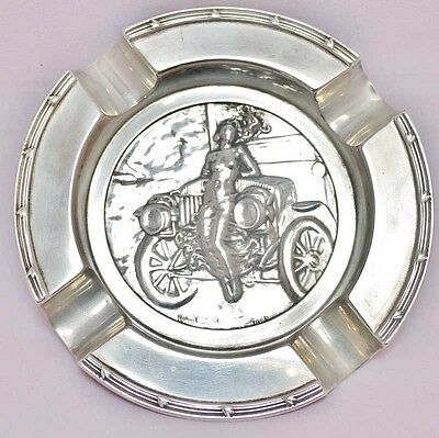 Motor Union winners silver medal for 1906 set in silver ashtray hallmarked 1907